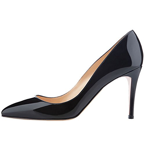 June in Love Women's Middle Heels Shoes Pointy Toe for Daily Usual Girls Lady Pumps Black 5.5 -