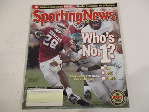 Usc Ring - SEPTEMBER 27, 2004 SPORTING NEWS FEATURING ADRIAN PETERSON OF THE OKLAHOMA SOONERS *WHO'S NO. 1? *OU - USC - OTHER* *COLLEGE FOOTBALL'S TOP TEAMS HAVE A FAMILIAR RING* MAGAZINE