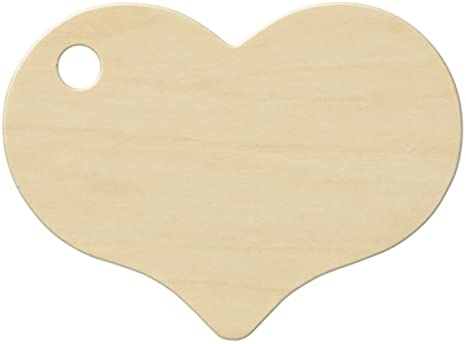 Bememo 100 Pieces Heart Shaped Wooden Discs Wood Tags with 2 Holes and 100 Pi...