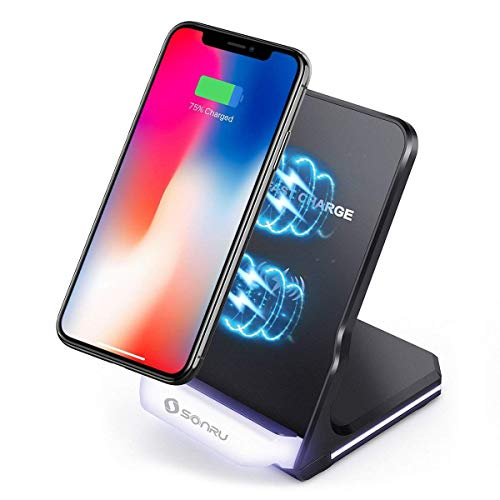 SONRU Fast Wireless Charger Pad Phone Stand, 10W Qi Charger for iPhone XS/X/8/8 Plus, S9/S9+, S8/S8+, S7/S7 Edge, S6/S6 Edge, Note 8/5, etc