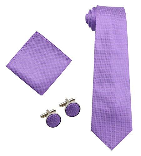 Bioterti Men's 3-Piece Necktie Set:Necktie+Pocket Square+Pair Of Cufflinks (Purple) (Cufflinks Purple Square)