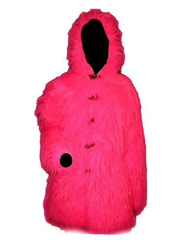 Neon Pink Fluffy Furry Hooded Fur Long Sleeve 3/4 Coat Jacket (M/L)