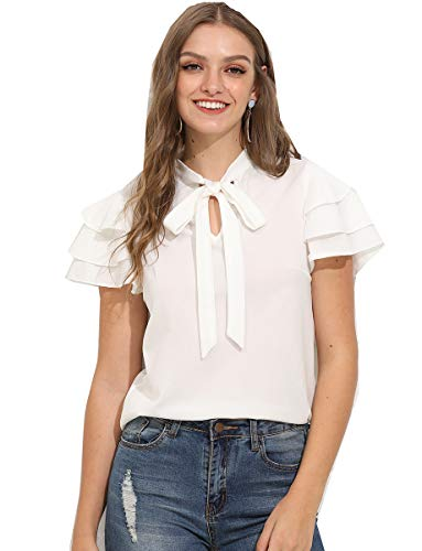 Office Tie - Romwe Women's Stretchy Short Sleeve Layered Bow Tie Neck Work Office Blouse Shirt Top White XL
