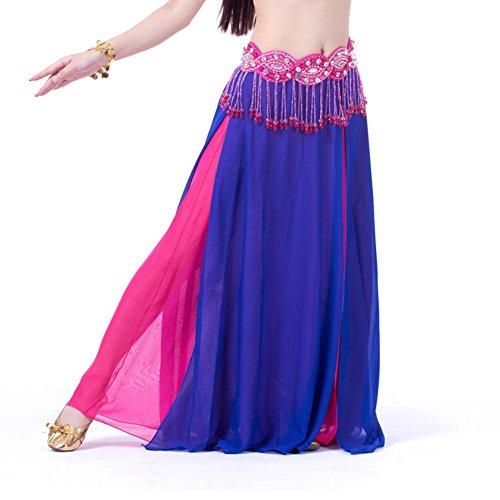 moresave mujeres alta hendidura gasa danza del vientre falda capas laterales falda vestido, mujer, Verde oscuro, talla única azul oscuro