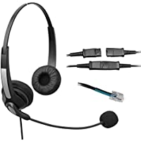 Voistek Corded Binaural Call Center Telephone RJ Headset Noise Cancelling Headphone with Mic and Quick Disconnect for Avaya Nortel Polycom Nec GE Office Landline IP Phones Deskphone (S20NPA10)
