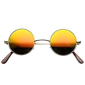 zeroUV - Lennon Style Small Round Color Mirrored Lens Circle Sunglasses (Gold Fire)