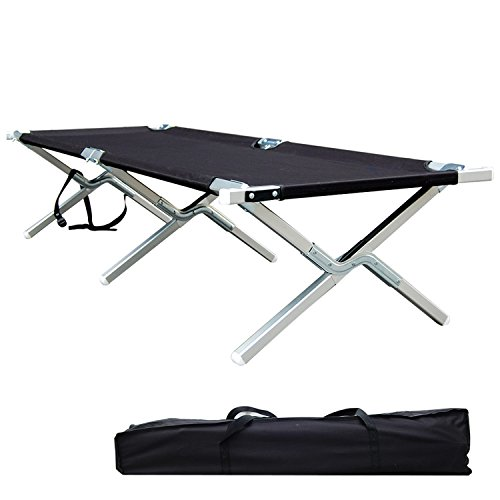 Shaddock Fishing Portable Folding Camping Cot Military Grade Aluminum Frame Perfect for Base Camp, Camping and Hunting with Free Zippered Storage Bag - Test 400 lbs Weight Capacity (Base Camp Storage)