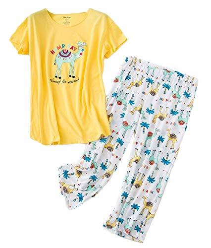 - Women's Short Sleeve Tops with Capri Pants Pajama Sets TZ001-Yellow Camel-S