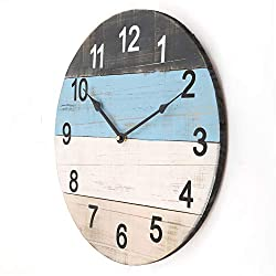 Large Wooden Wall Clock, 18 Inch Creative 4 Color Blocks Spliced Clock Face, Vintage Distressed Solid Wood, Rustic Decorative Silent Clock for Indoor/Living Room/Dining Room/Bedroom/Kitchen