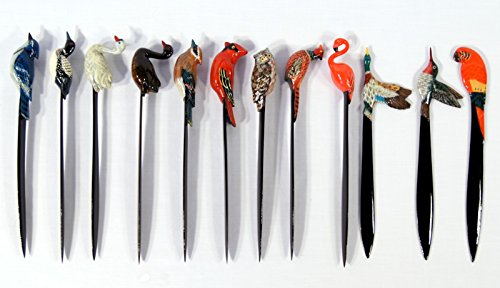 Wholesale Pack Handpainted Letter Opener Assorted Birds: Red Male Cardinal Blue Jay White Black Swan Loon Duck Pheasant Hummingbird Flamingo Parrot Owl Mallard (Set of 12) #2]()
