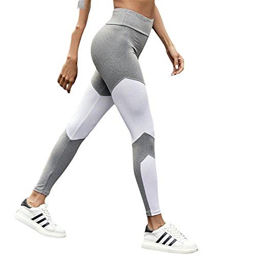 Mannerg Athleisure Leggings for Fitness Sportswear Bodybuilding Push up Patchwork Slim Legging Elastic Women's Pants,Medium,White