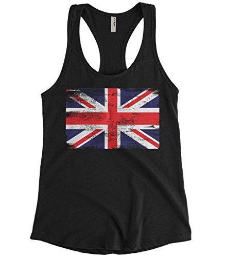 ded Great Britain England Flag Racerback Tank Top (Black, Large) ()
