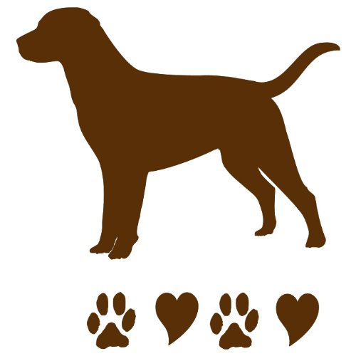 Chocolate Labrador Retriever Chocolate Lab Paws and Hearts Dog Lover Vinyl Car Decal ()