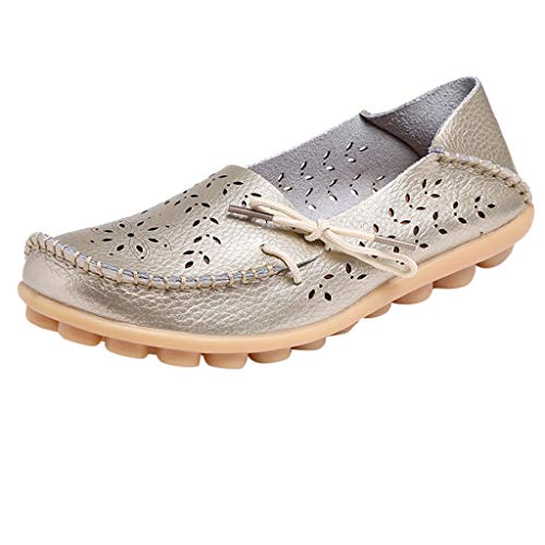 - Sunhusing Mother Casual Hole Shoes Nurse Flat Shoes Women's Hollowed Hook Flower Leisure Driving Shoes Gold