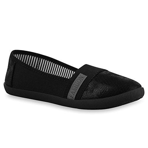Damen Slipper Metallic Slip-Ons Ballerinas Freizeit Schuhe Flats Flandell Schwarz
