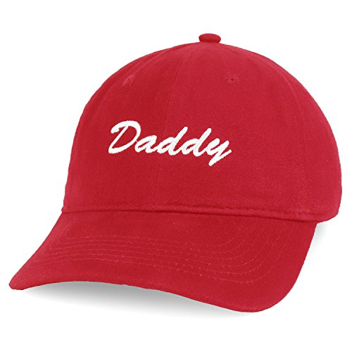 Trendy Apparel Shop Daddy Script Font Embroidered Low Profile Soft Cotton Baseball Cap - Red