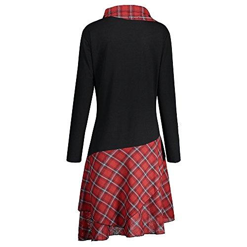 c343ca99d65 CharMma Women s Plus Size Mock Neck Lace Plaid Panel Long Top Blouses   Amazon.co.uk  Clothing