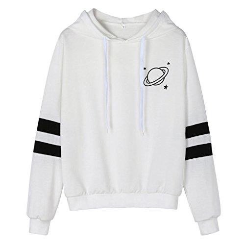 Sherpa Print Sweatshirt - Zainafacai Hoodies Women's Comfy Printed Hooded Sweatshirt Fashion Couples Pullover Hoodie (White, L)