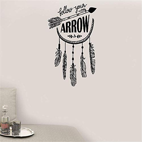 (Wall Decal Removable Quote Decor Design Decal Follow Your Arrow Quote Feathers Ethnic Style Living Room)
