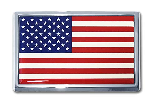 Elektroplate Large American Flag Chrome Auto Emblem