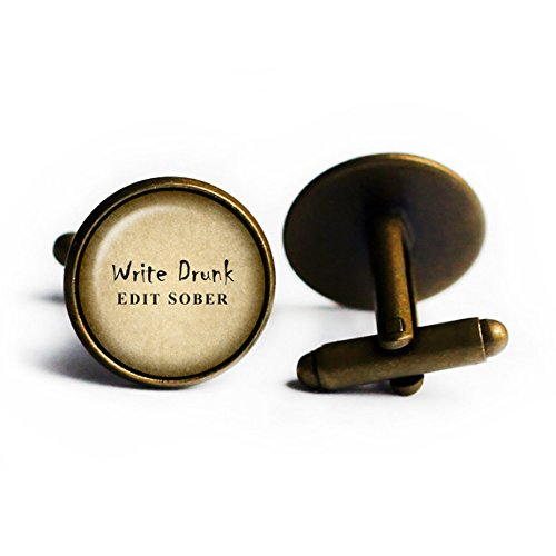 Ernest Hemingway Write Drunk. Edit Sober. Bronze Cufflinks