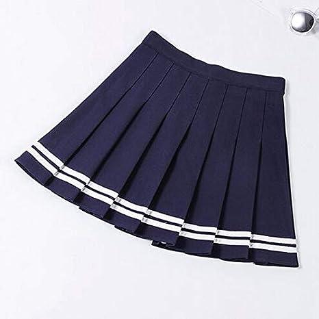 HEHEAB Falda,Cintura Alta Falda Plisada Azul Kawaii Harajuku ...