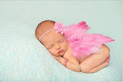 Zehui–Niñas Accesorios para el pelo Manual bebé Ángel Alas de pluma y de encaje diadema Photo Prop Color Rosa
