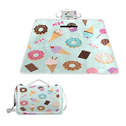 """SLHFPX Sweet Donut Cupcake Ice Cream Picnic Mat 57""""x79"""" Picnic Blanket Handy Beach Mat Sandproof and Waterproof for Picnic, Beaches, RVing and Outings"""