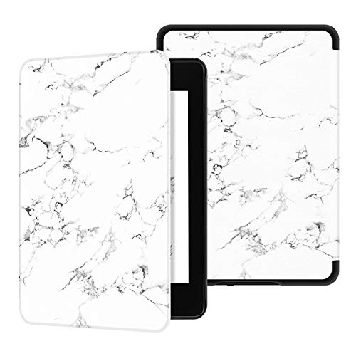 Ayotu Water-Safe Case for Kindle Paperwhite 2018-PU Leather Smart Cover with Auto Wake/Sleep-Fits Amazon The Latest Kindle Paperwhite Leather Cover (10th Generation-2018),K10 White-The Marble Pattern