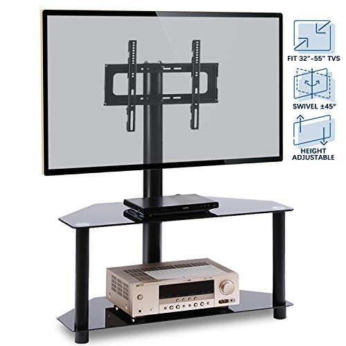 (Rfiver Corner Floor TV Stand with Swivel Mount for Most 32