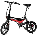Swagtron Swagcycle EB-7 Elite Folding Electric Bike, 16-Inch Wheels, Swappable Battery with Keylock & Rear Suspension