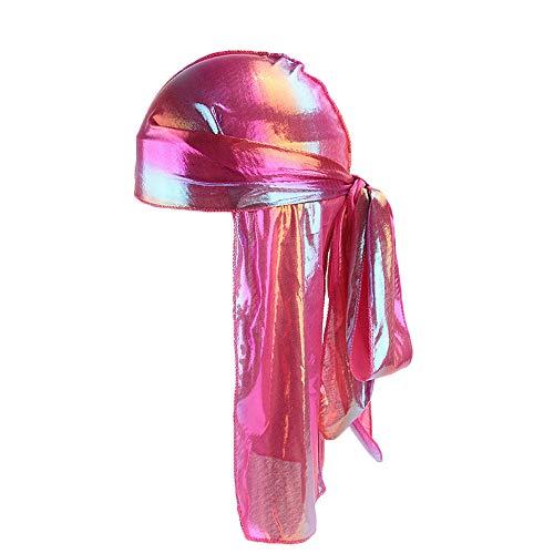 Bravetoshop Men/Women Silk Polyester Bandana Hat Durag Rag Tail Headwrap Headwear Gift(A,Free Size) -