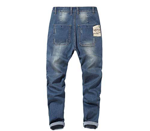 Denim Especial Ampi Jeans Da Gambe Uomo Casuali Bobo Skinny Elasticizzati Retrattili Pantaloni Hellblau 88 Dritte Estilo 4TOUHwxqF