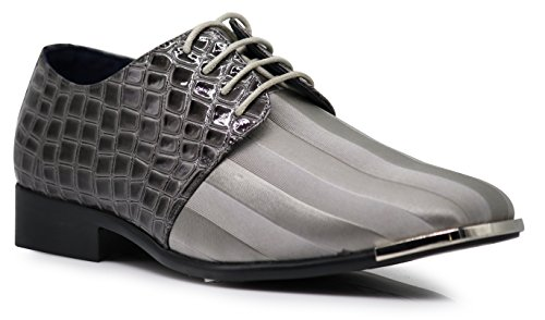 JY2N Men's Satin Metal Silver Tip Oxfords Dress Shoes Stripes Church Wedding Party Groomsmen Oxfords Dress Shoes (11, Gray) by Enzo Romeo