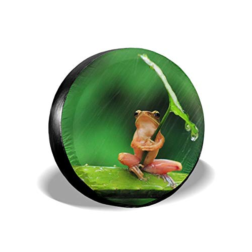 Humor Frog with Leaf Umbrella Leader Accessories Spare Tire Cover,Waterproof Dust-Proof(Fit 23-32 ()