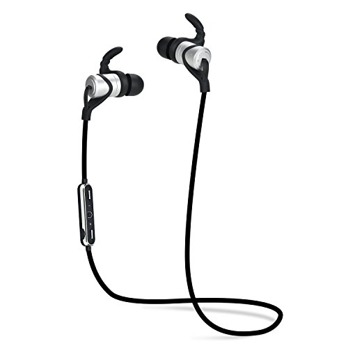 Bluetooth Earbuds Sport Headsets Metal Headphones Wireless Earpieces with Magnetic Earbuds Sweatproof Headphones Gym Running (Silver) (Silver Ox Link)