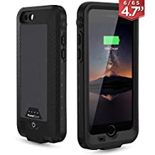 PowerBear Waterproof iPhone 6 Battery Case [2,750 mAh] | For the iPhone 6 & iPhone 6S | High Capacity Waterproof External Battery Charger (Up to 1.5X Extra Battery) - Black [24 Month Warranty]