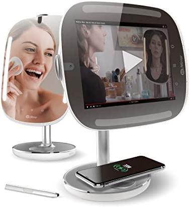 HelloMirror Mini Premium X 64GB: Smart Beauty Mirror with Skin Analyzer, Makeup Mirror with LED Lights, Smart Vanity Mirror with a Nonstationary Screen and Wireless Charging Pad