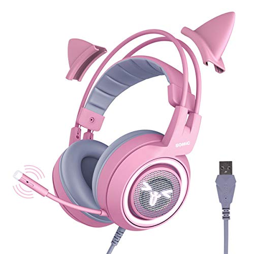 SOMIC G951pink Gaming Headset for PC, PS4, Laptop: 7.1 Virtual Surround Sound Detachable Cat Ear Headphones LED, USB, Lightweight Self-Adjusting Over Ear Headphones for Girlfriend Women ()