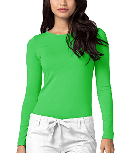 Adar Womens Comfort Long Sleeve T-Shirt Underscrub Tee - 2900 - Neon Lime Green - ()