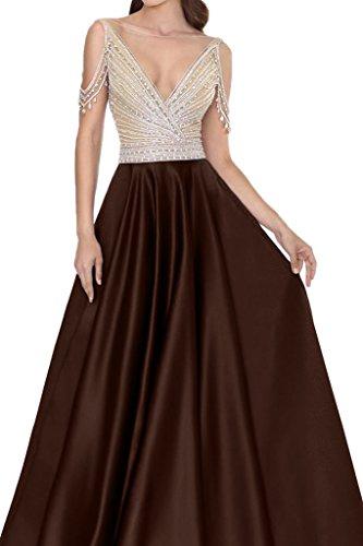 Schokolade Abendkleid Rueckenfrei Damen Festkleid Steine Promkleid Satin Ausschnitt Ivydressing V Partykleid qSPwRUg