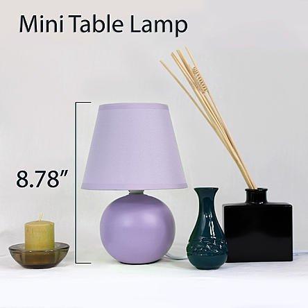 Simple Designs Mini Ceramic Globe Table Lamp 2 Pack Set Purple