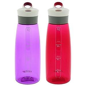 Contigo Autoseal Grace Water Bottle, 32-Ounce, Radiant Orchid & Sangria (2 Pack)