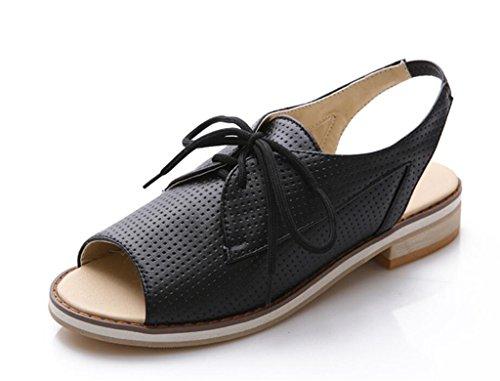Hueco Chica Plano Pescado de Negro Mujer 34 de Sandalias de Boca Zapatos 41 Vendaje Fondo WEIQI 2cm gqv7w