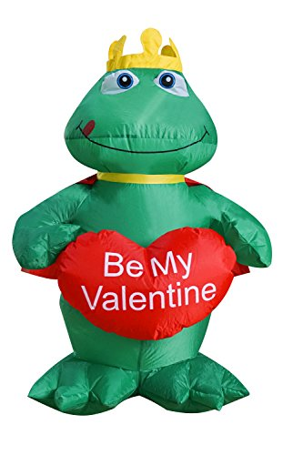 4 Inflatable (4 Ft Inflatable Valentine Day The Frog Prince with Sweet Heart Romantic Decorations for Wedding Anniversary Party)