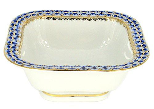 Lomonosov Porcelain Cobalt Net Cookie Jar Candy Nut Snack Bowl 2 serv. 12 ounces