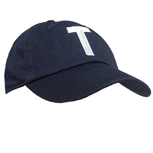 Tiny Expressions Toddler Boys' and Girls' Navy Embroidered Initial Baseball Hat Monogrammed Cap (T, - Hat Monogram