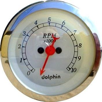 Dolphin Gauges 3 3//8 White Tachometer