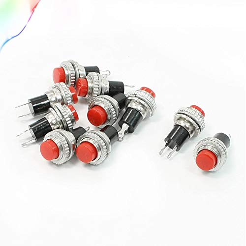 Price comparison product image 10 Pcs SPST Red Round Momentary Push Button Switch 3A 125V 1.5A 250VAC