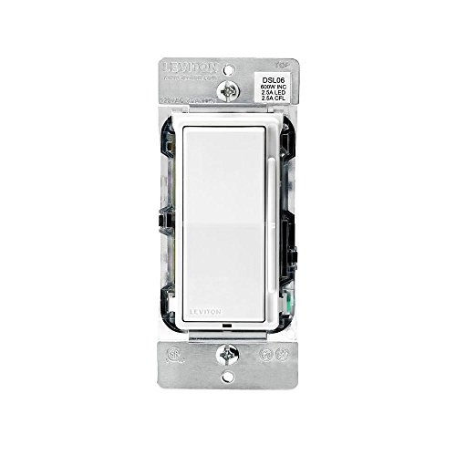Leviton Dsl06-3pw Decora Rocker Dimmer With Slide Bar, White, 600 Watts (Decora Slide Dimmer)